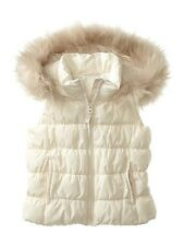 NWT New Gap Kids Girl Fur-Trim Puffer Vest Ivory Frost M 8