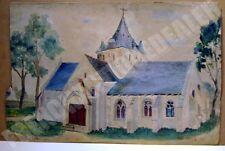 TABLEAU BRETON église KERNITRON Breiz signée Loiselle 1946 peintre breton