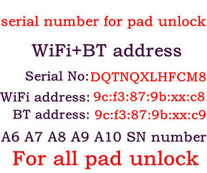 SN iPad  A5 A7 A8 A9 A10 serial number WIFI+Bluetooth