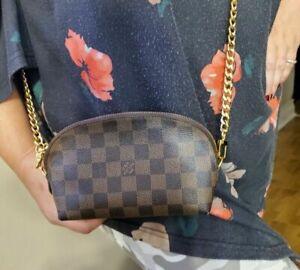 Louis Vuitton Damier Ebene Cosmetic Make up Case Pouch WOC Crossbody Bag WOOOOW