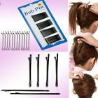 60Pcs/Lot Invisible Hair Clips Flat Top Bobby Pins Grips Salon Barrette Black