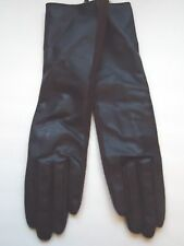 """Ladies 13.5"""" Long Genuine Leather Gloves Black/Brown, S/M"""