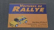 Certificat Voiture De Rallye De Collection « Seat Ibiza GTI Evo II »TBE.