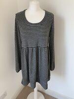 Lovely Laura Ashley Grey Stripe Soft Jersey Tunic Top Size 18