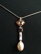 Pendente con topazio arancione, zircone, perla coltivata P70