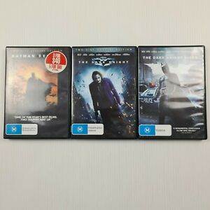 Batman The Dark Knight Trilogy - 3 x Movie DVD - Region 4 - TRACKED POST