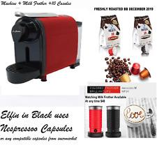 Red Delonghi Lattissima STYLE Nespresso pod system coffee Machine Elfin + 10 pod
