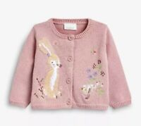 Girls Cardigan Pink |  Embroidered Rabbit Floral Fashion for Winter Dress Warm