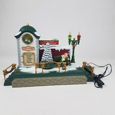 New Bright Holiday Express Musical Train Station Clock Tower Elves TESTED WORKS!