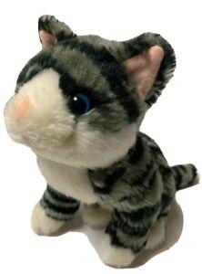 """Melissa & Doug Lifelike & Lovable Cat Plush 9"""" Striped Black Gray White RARE"""