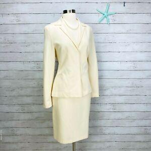 Tahari VTG 80's Ivory Cream Wool Skirt Suit Career Womens Vintage Sz 6 = Sz 4