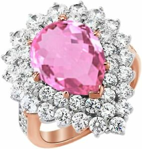 6.56 Ct Pear & Round Cut Simulate Tourmaline Cluster Ring For Her 14k Gold Over