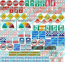 HO Scale Fire & Police Model Railway Signs Details - 96 Signs - HOFPS1