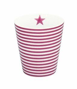 Krasilnikoff - Happy Mug, kleine Streifen lila, HM345, Becher, tiny stripes plum