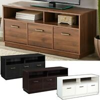 """3-Door TV Stand Console for TVs up to 50"""", Wood Entertainment Cabinet 4 Finishes"""