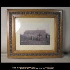 Antique Victorian Oak and Gesso Picture Frame Original Photo Farm Family