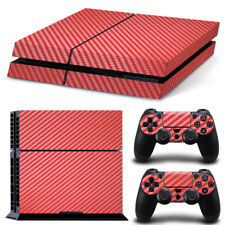 PS4 Playstation 4 Carbon Red Console Skin Decal Sticker + 2 Controller Skins SET
