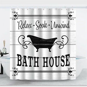 White Black Fabric Shower Curtains For