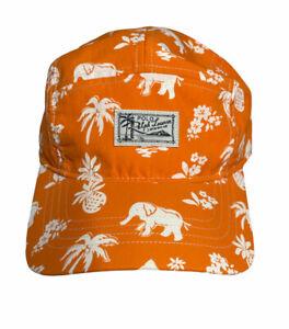 RARE POLO Ralph Lauren Swimwear 5 Panel Hat Orange Strapback Island Elephants