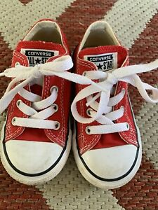 CONVERSE All-Star Red Toddler Shoes Size 7T Low Canvas Sneaker 7