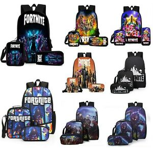 Fortnite Backpack Lunch Bag Stationery Pen three-Piece Student School Crossboy