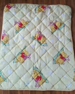Vintage Winnie The Pooh & Piglet Yellow Quilt Blanket Zips Into a Pillow