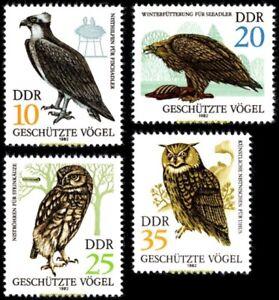 EBS East Germany DDR 1982 - Birds of Prey - Greifvögel - Michel 2702-2705 MNH**