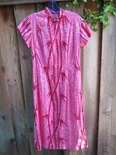 Vintage 1950s Dress WATUMULL'S for LEILANI Hawaiian Bamboo Cotton Cheongsam B36