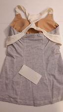Lululemon Sz 6 NWT Spin me Tank Top Gray Ghost Mini Stripe Soft Yoga lux pads