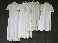 Vintage Baby Dresses Christening Gown White Cotton Heirloom Sewing Lot of 5