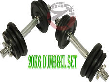 NEW CAST IRON DUMBBELL GYM HOME WORKOUT TRAINING FITNESS FREE WEIGHT SET 20KG