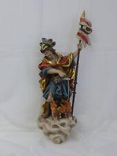 Grödner Schnitzerei Heiligenfigur Hl. Florian, 45 cm, mit Fahne 57 cm