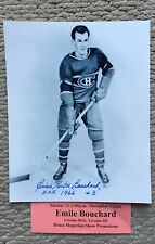 Emile Butch Bouchard Montreal Canadiens Autographed 8x10 W TIcket W HOF 66 COA