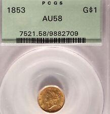 1853 Gold Dollar PCGS AU 58 OGH Old Green Holder