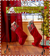 Snowman 6 Stocking Holder Hanger Floor Stand Holiday Christmas Scroll Home Decor