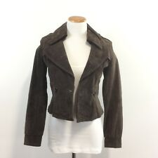 New Seduction Outerwear Brown Suede Leather Jacket Fully Lined Women's Sz S NWT
