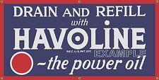 HAVOLINE POWER MOTOR OIL DEALER OLD SCHOOL SIGN REMAKE BANNER GARAGE ART 2 X 4