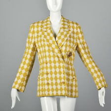 M Sonia Rykiel Blazer Yellow Houndstooth Tweed Blazer Double Breasted 90s VTG