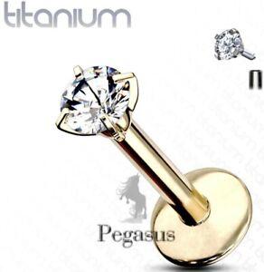 SOLID IMPLANT 23 GRADE TITANIUM - 6mm Cz Gold Internally Threaded Lip Bar