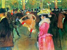 HENRI DE TOULOUSE LAUTREC BALL IN MOULIN ROUGE OLD ART PAINTING PRINT 1264OMA