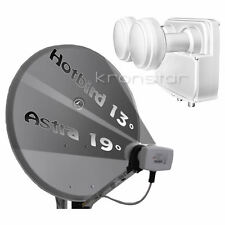 SAT-Anlage ANTHRAZIT 80cm Astra-Hotbird für 2 Teilnehmer DIGITAL Full HD+ 4K UHD