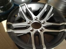 """3-14"""" 5 Lug BLACK/ SILVER Alum Trailer Wheels mounted with Rainer tires"""