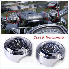 "2pcs 7/8"" 1"" Motorcycle Handlebar Temperature Gauge Thermometer Black Dial Clock"