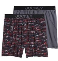 Men's Jockey 2-Pack Briefs No Bunch Boxer Paintely Stripe/ Grey Comfort Stretch