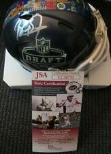 BRIAN BURNS CAROLINA PANTHERS SIGNED 2019 NFL DRAFT MINI HELMET JSA COA CC38752