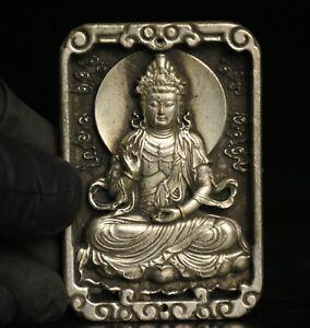 "2.8"" Old China Silver Hand Carving Kwan-yin Guan Yin Goddess Pendant Amulet"