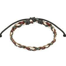 Plum, Olive, Beige Braided Leather Bracelet With Drawstrings One Size Fit Most