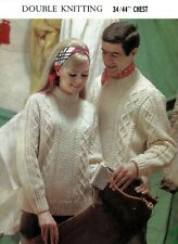 """Man & Woman DK. Knitting pattern cable jumpers sweaters pullovers 34""""-44"""" chest"""