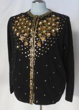 Deadstock Vtg Furry Sequins Embellished Black & Gold Cardigan Sweater Size 46