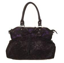 Banned Apparel Elegant Flocked Gothic Steampunk Fatale Handbag Black Purple